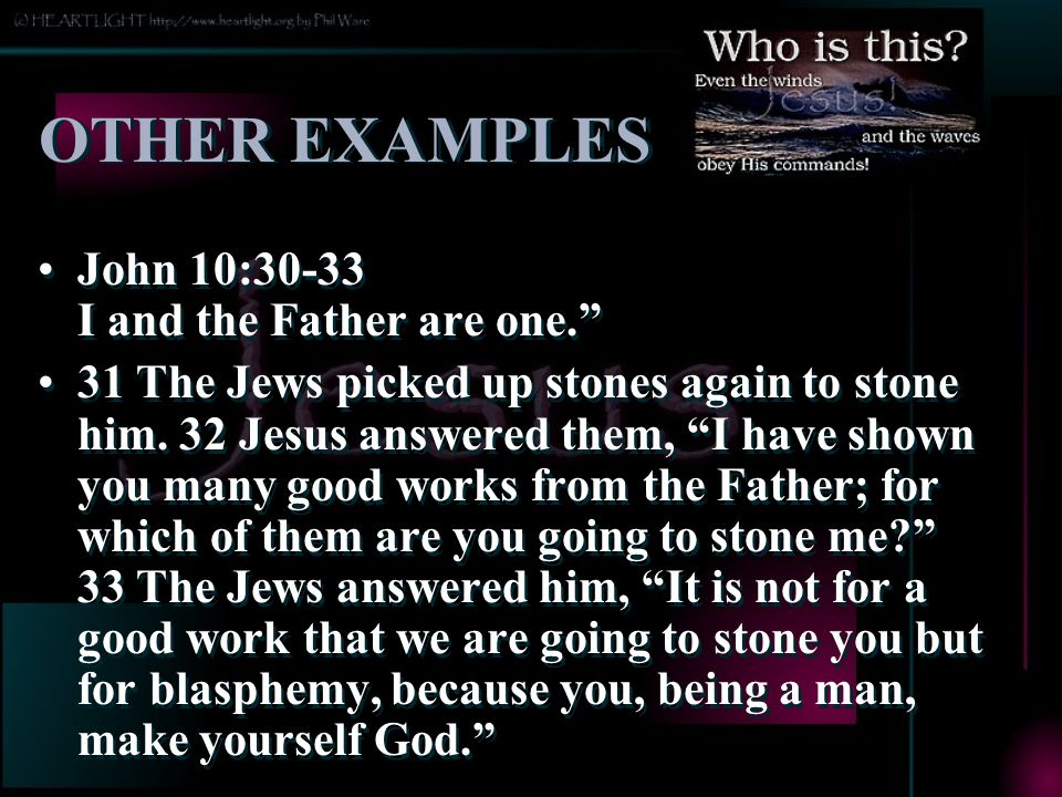 OTHER EXAMPLES John 10:30-33 I and the Father are one.