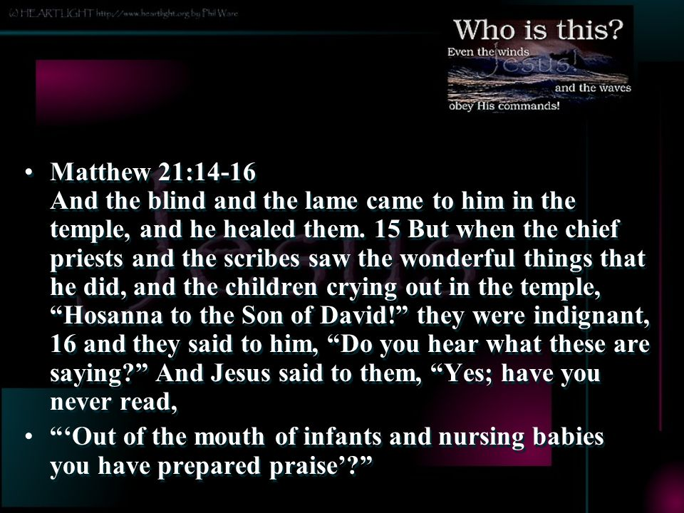 Matthew 21:14-16 And the blind and the lame came to him in the temple, and he healed them. 15 But when the chief priests and the scribes saw the wonderful things that he did, and the children crying out in the temple, Hosanna to the Son of David! they were indignant, 16 and they said to him, Do you hear what these are saying And Jesus said to them, Yes; have you never read,