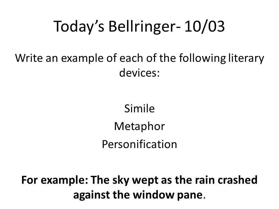 Today's Bellringer- 10/03