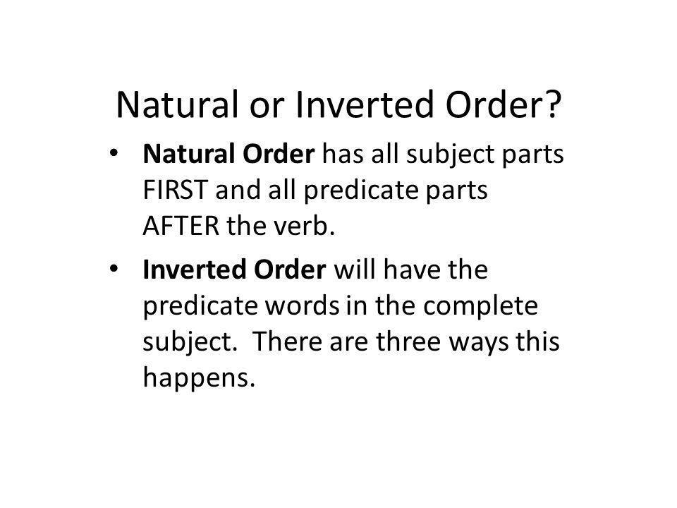 Natural or Inverted Order