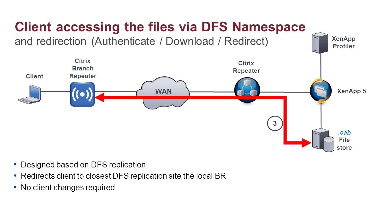 Client accessing the files via DFS Namespace