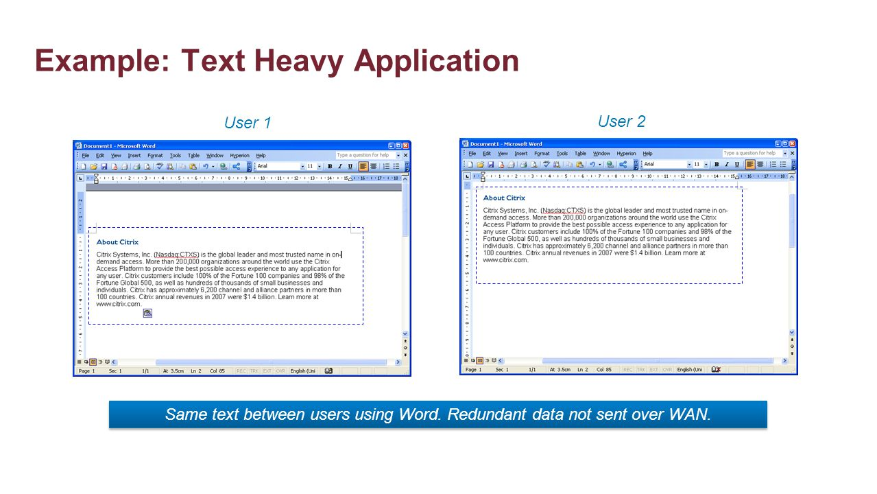 Example: Text Heavy Application