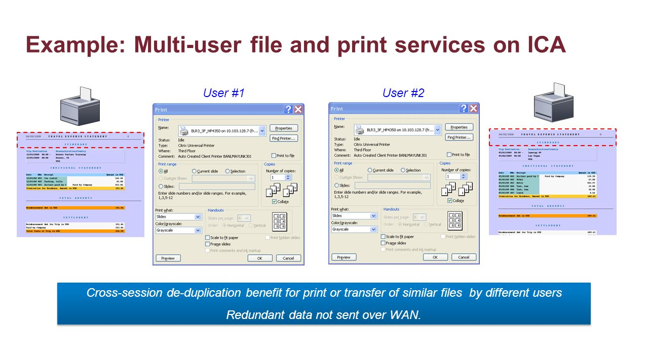 Example: Multi-user file and print services on ICA