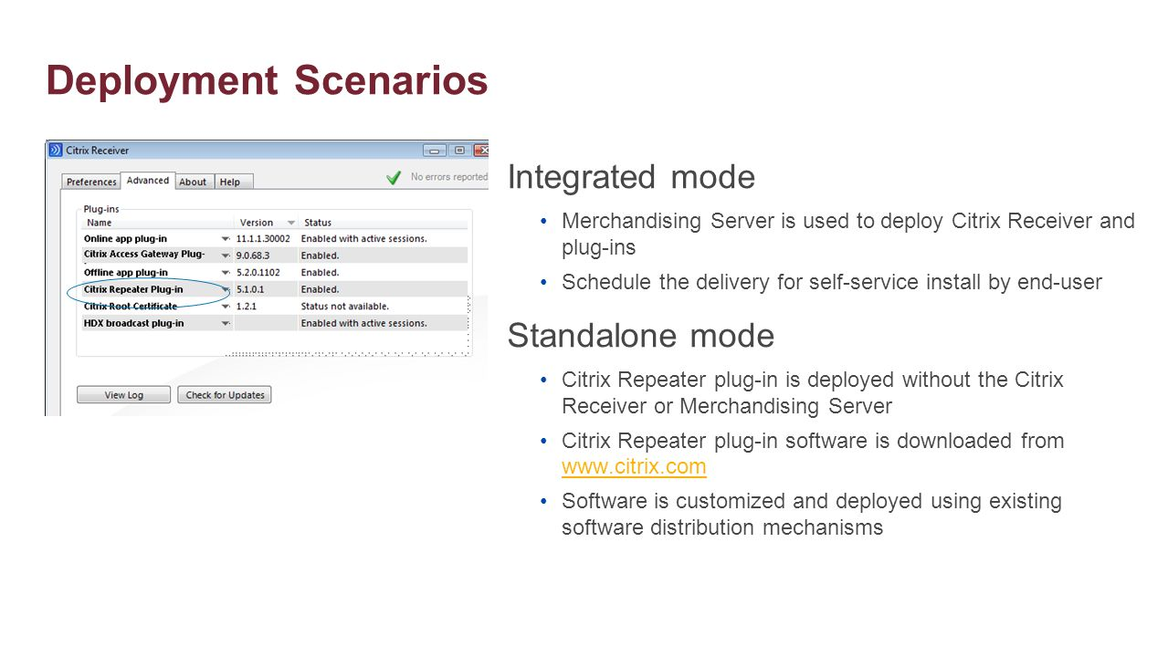 Deployment Scenarios Integrated mode Standalone mode