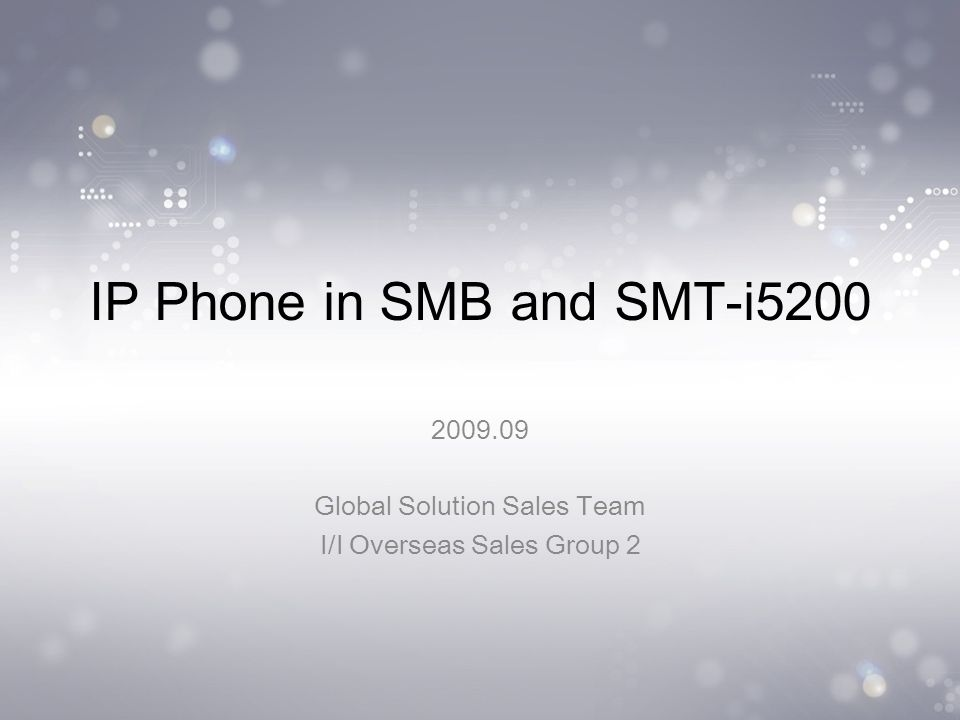IP Phone in SMB and SMT-i5200