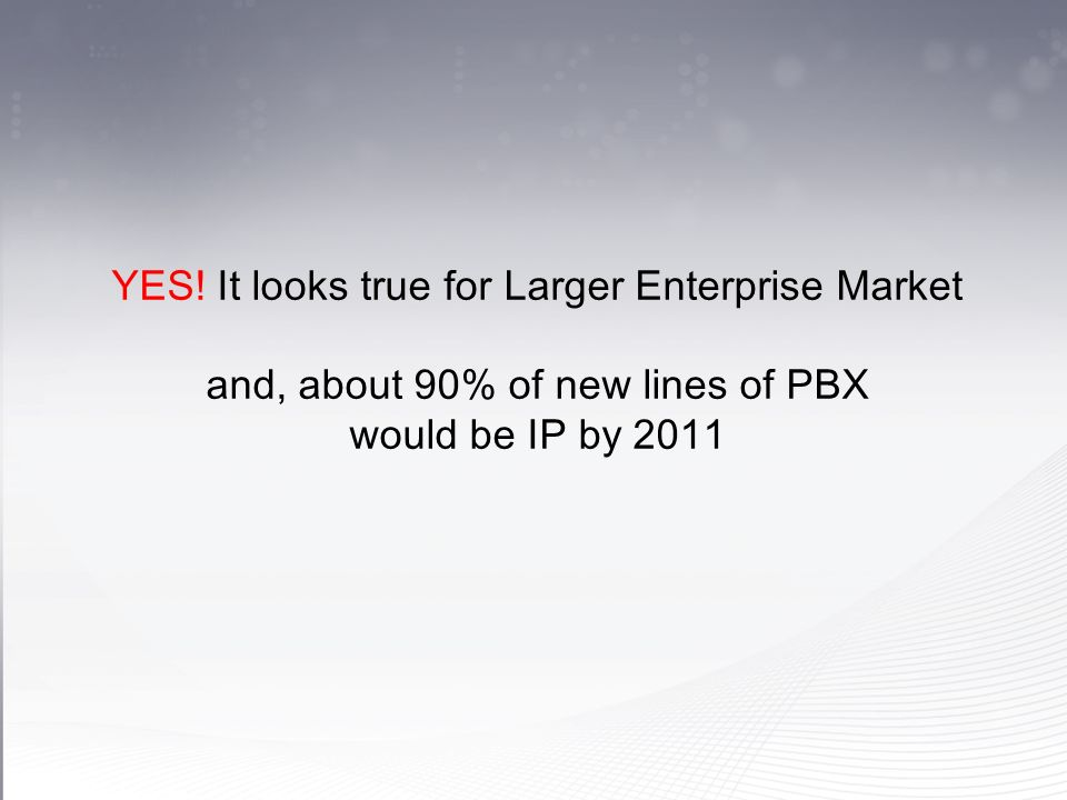 YES! It looks true for Larger Enterprise Market