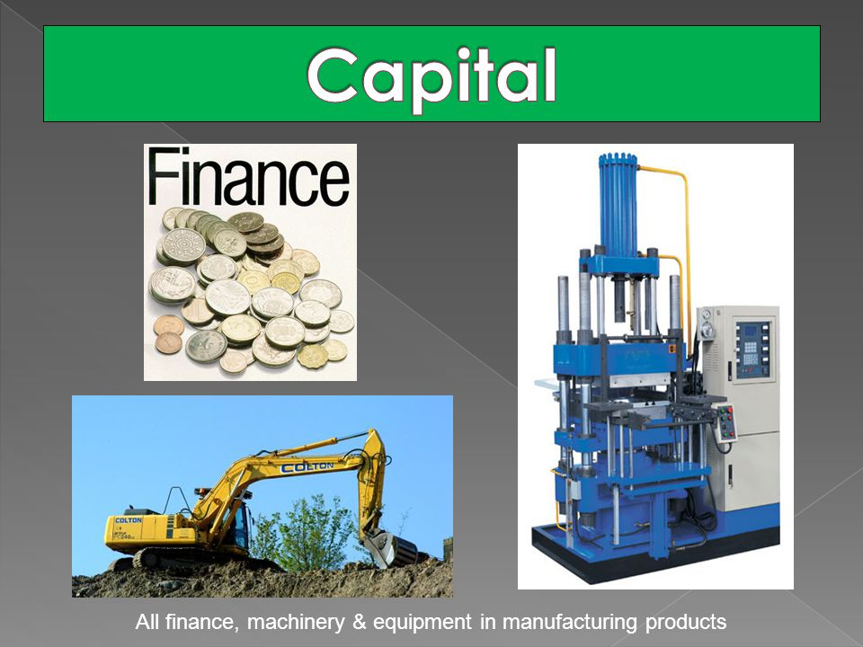 All finance, machinery & equipment in manufacturing products