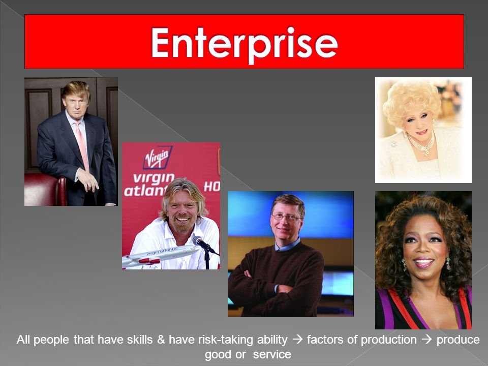Enterprise All people that have skills & have risk-taking ability  factors of production  produce good or service.