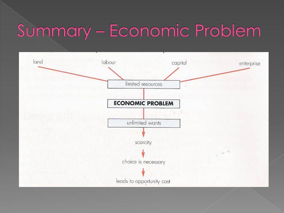 Summary – Economic Problem