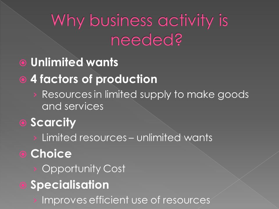 Why business activity is needed