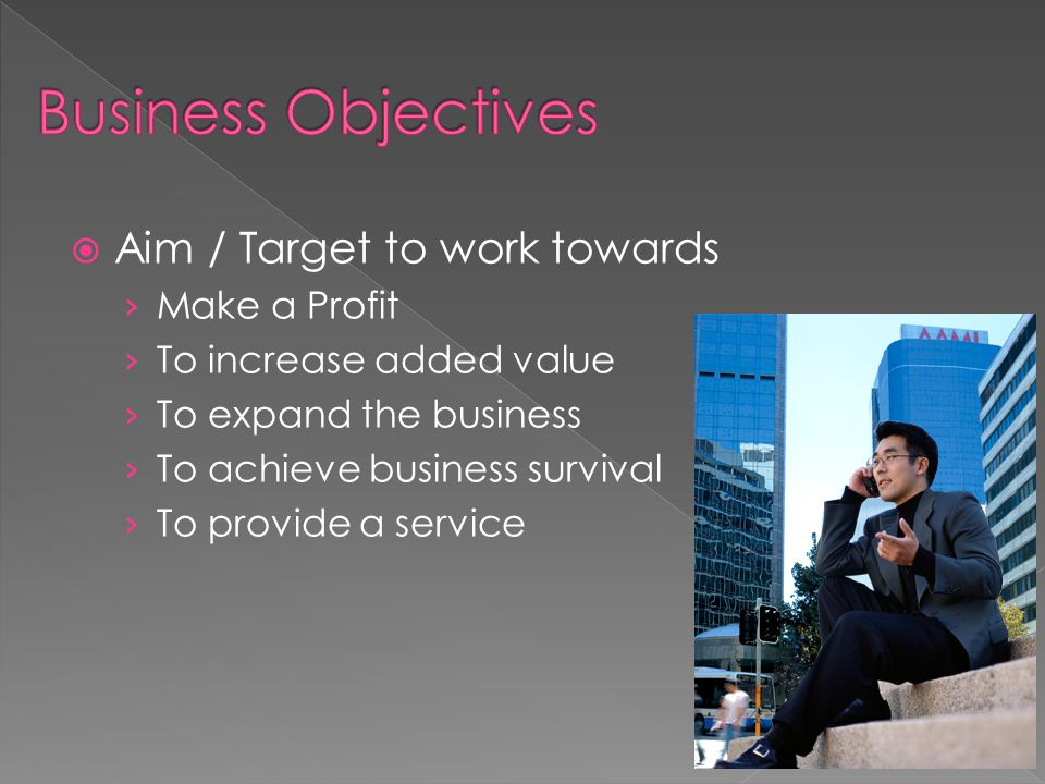 Business Objectives Aim / Target to work towards Make a Profit