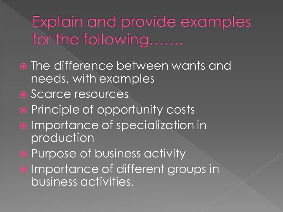 Explain and provide examples for the following…….