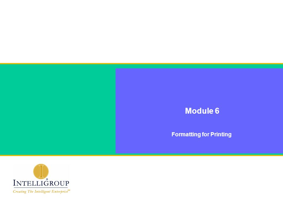 Formatting for Printing