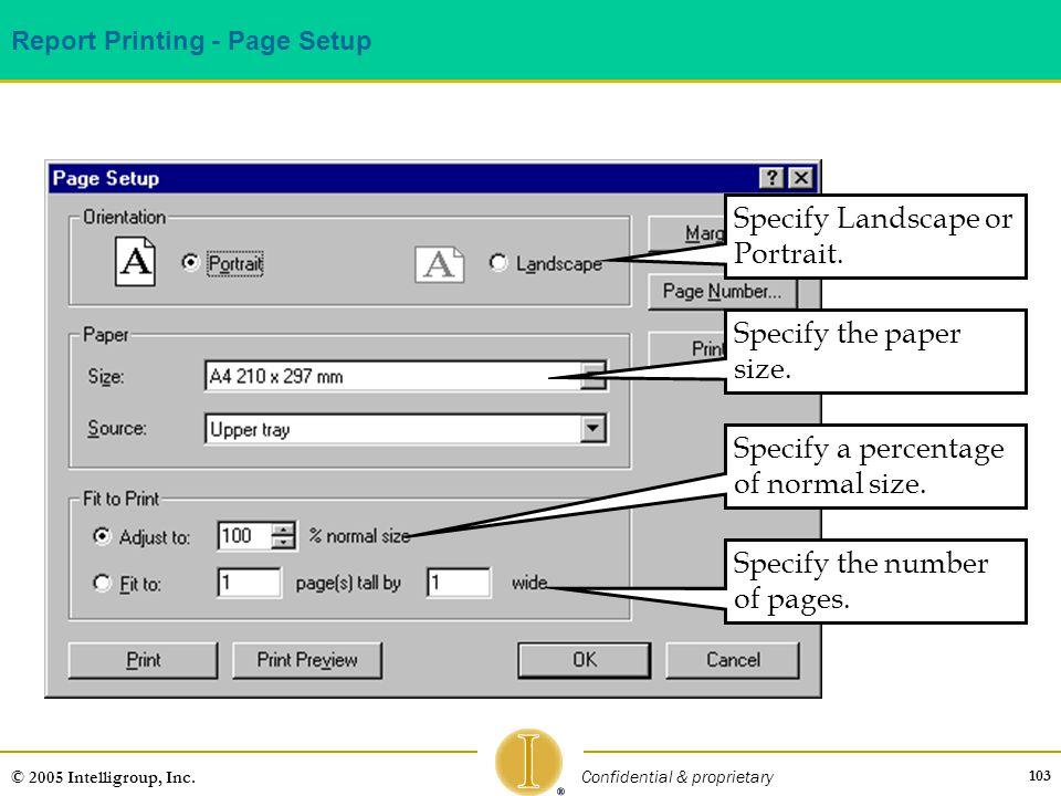 Report Printing - Page Setup