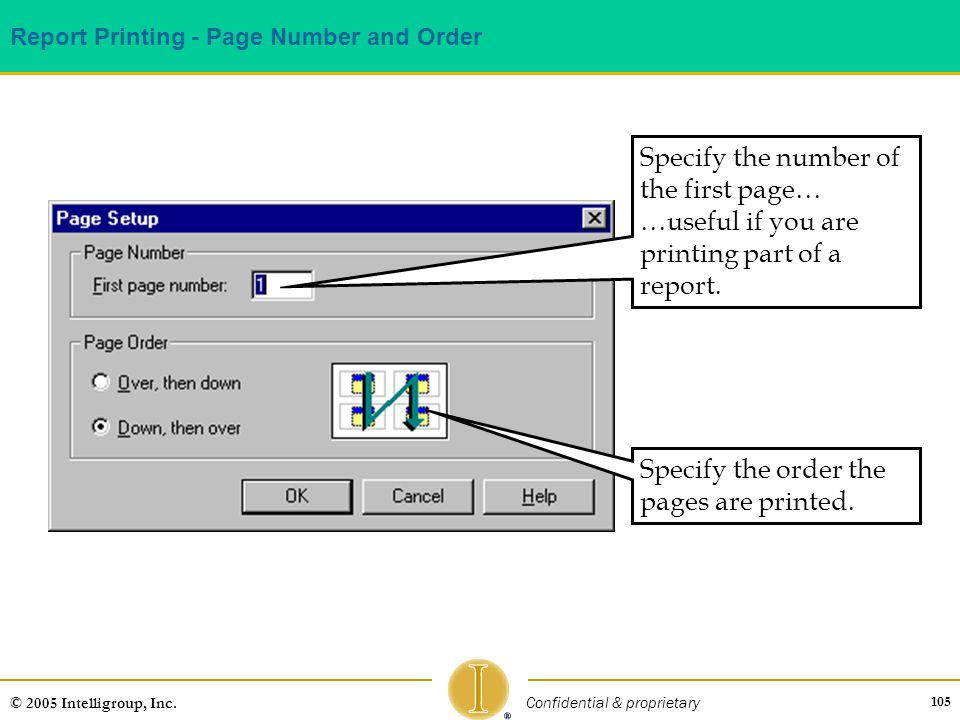 Report Printing - Page Number and Order
