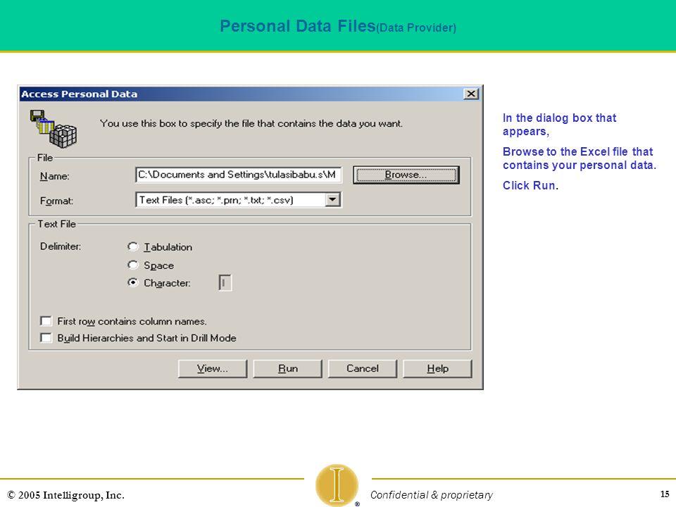 Personal Data Files(Data Provider)