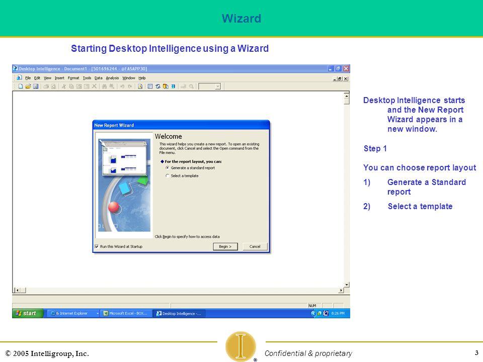 Wizard Starting Desktop Intelligence using a Wizard