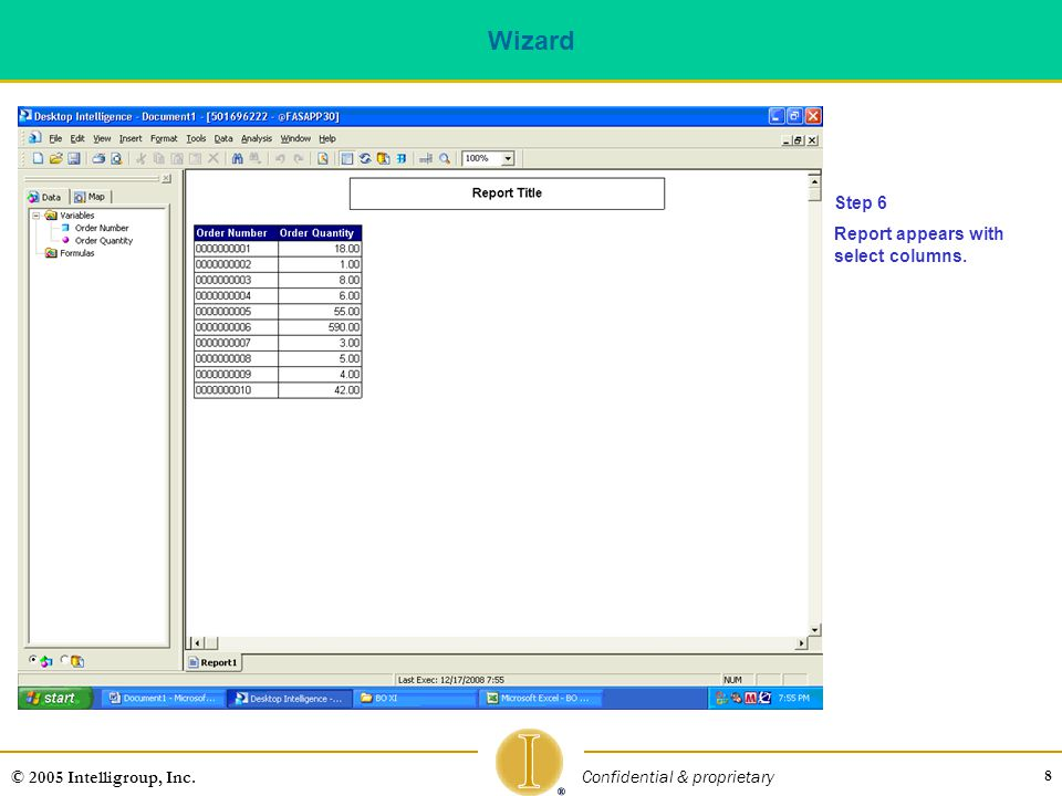 Wizard Step 6 Report appears with select columns.