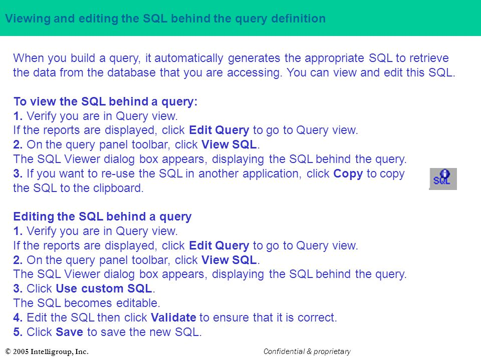 Viewing and editing the SQL behind the query definition