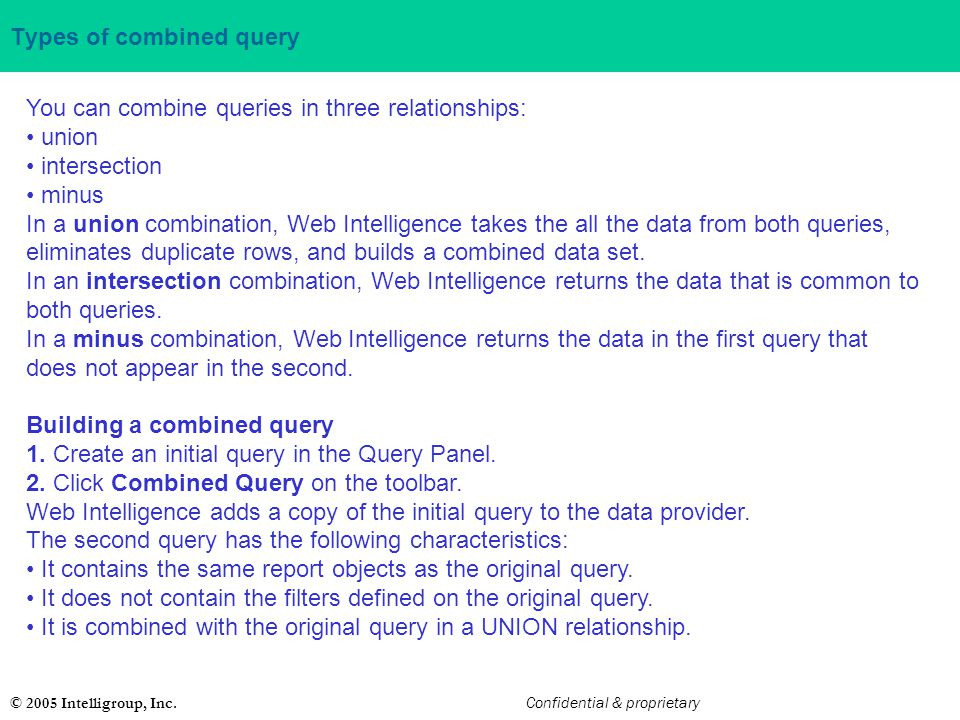 Types of combined query