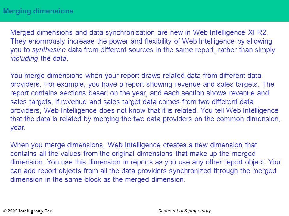Merging dimensions