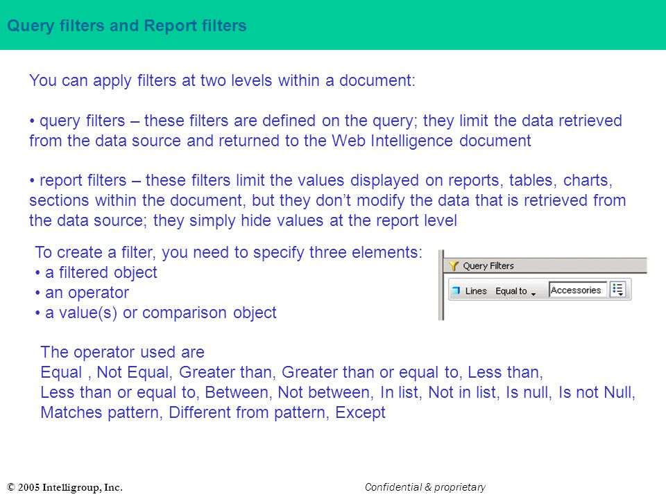 Query filters and Report filters