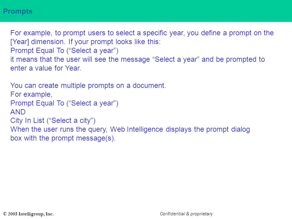 Prompt Equal To ( Select a year )