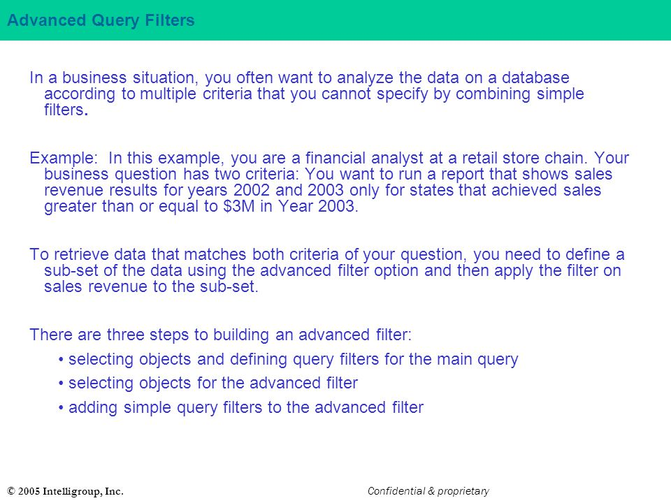 Advanced Query Filters