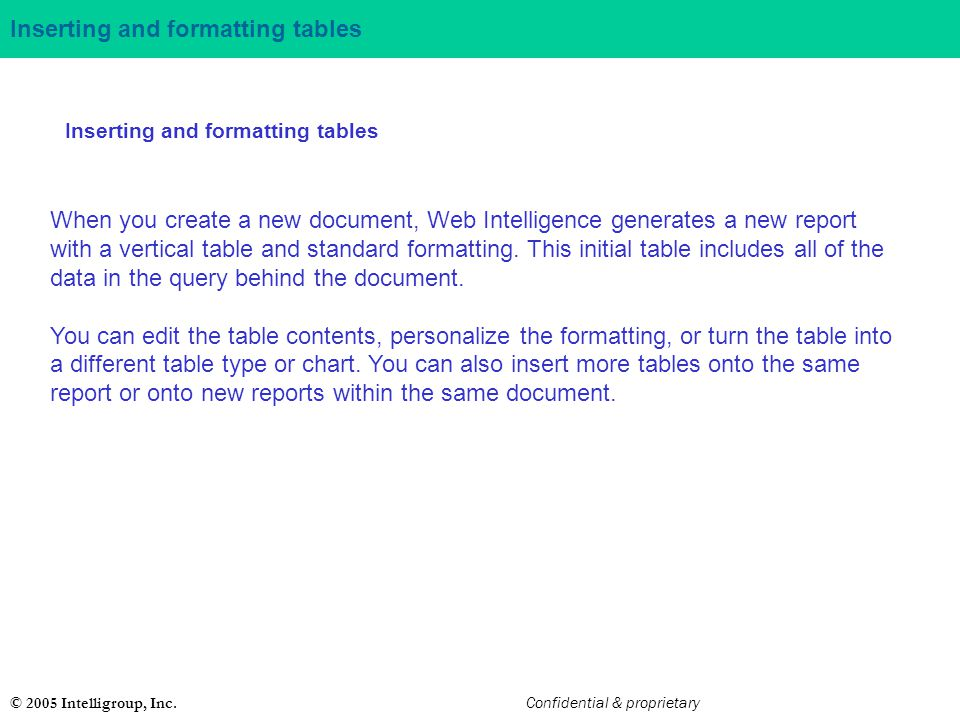 Inserting and formatting tables
