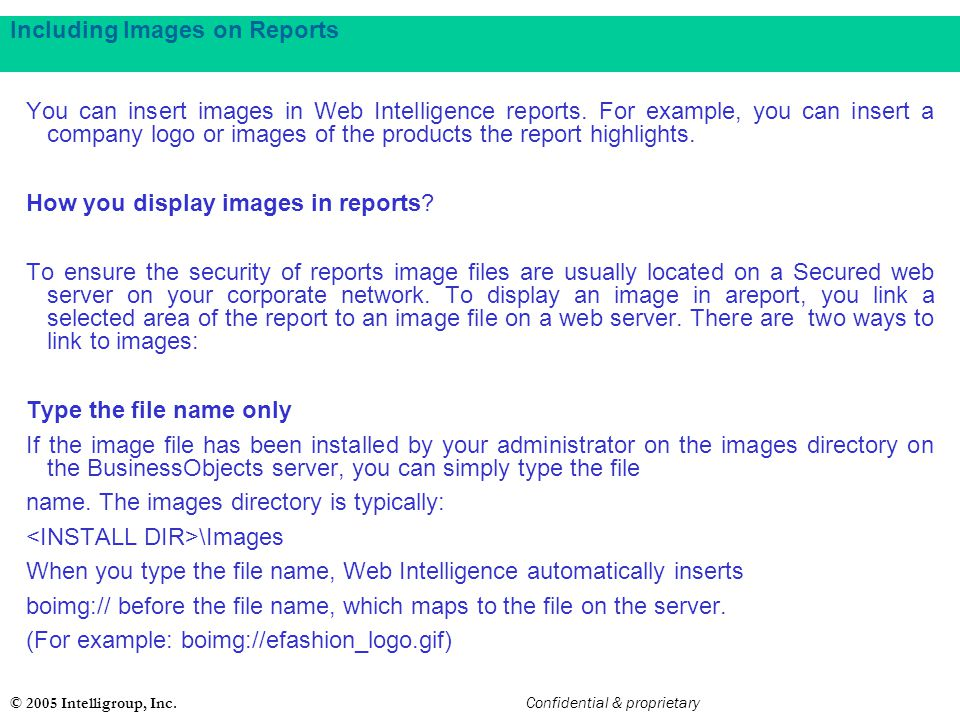 Including Images on Reports