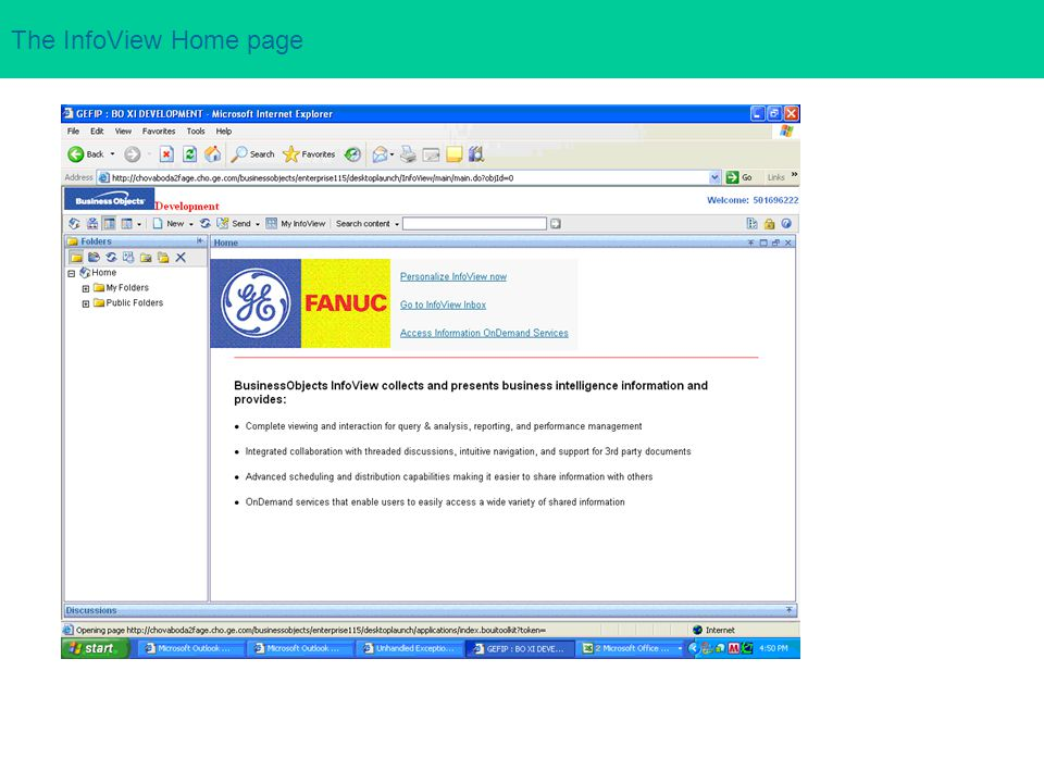 The InfoView Home page