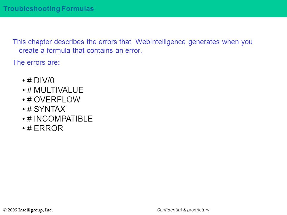 Troubleshooting Formulas