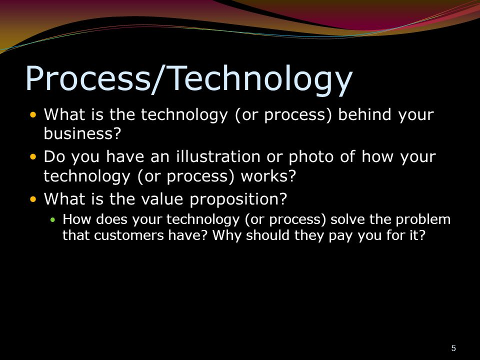 Process/Technology What is the technology (or process) behind your business