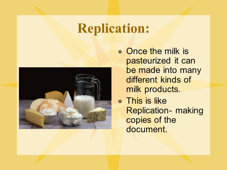 Replication: Once the milk is pasteurized it can be made into many different kinds of milk products.