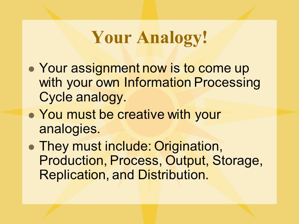 Your Analogy! Your assignment now is to come up with your own Information Processing Cycle analogy.