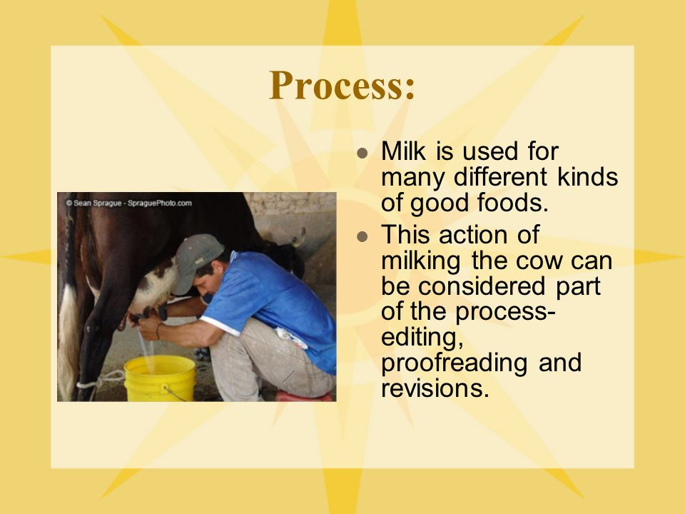Process: Milk is used for many different kinds of good foods.