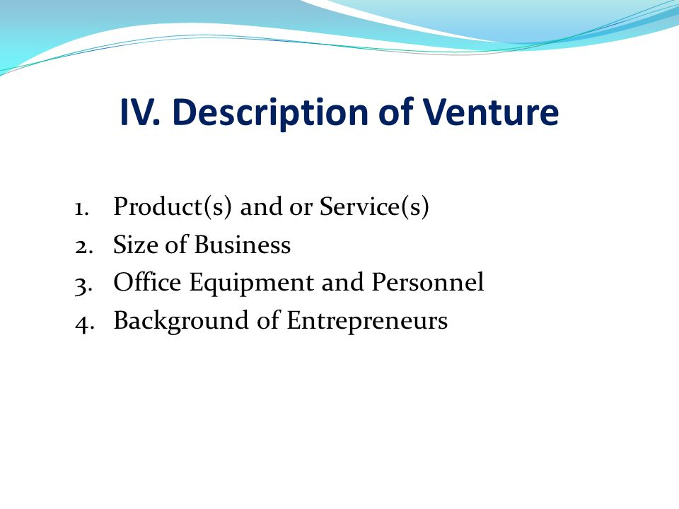 IV. Description of Venture