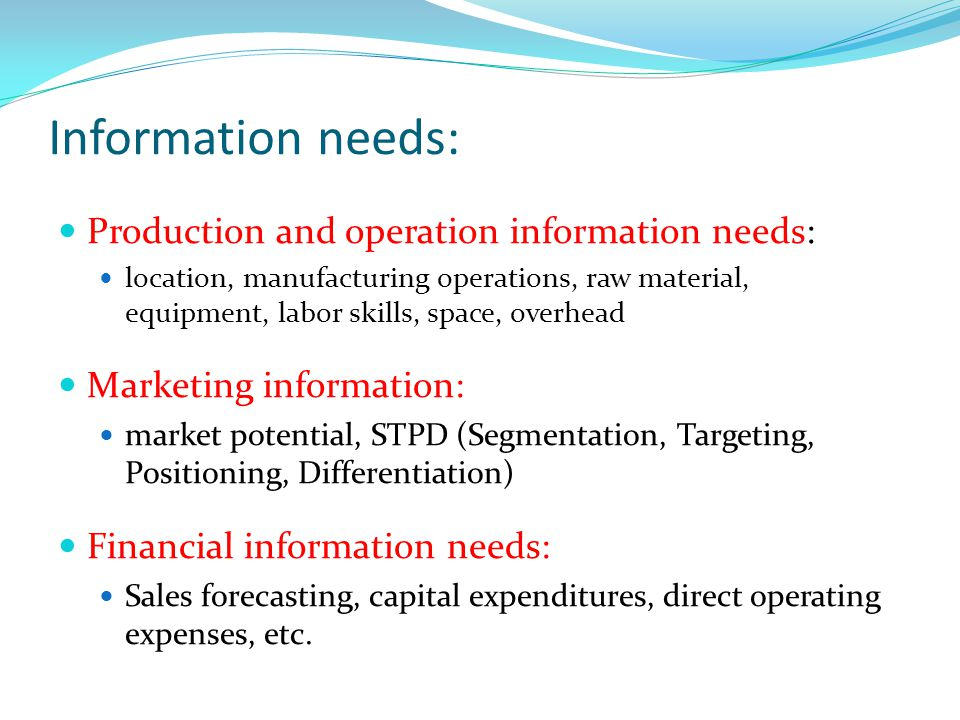 Information needs: Production and operation information needs: