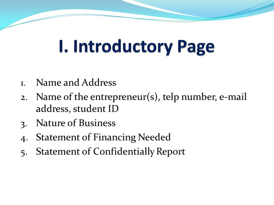 I. Introductory Page Name and Address