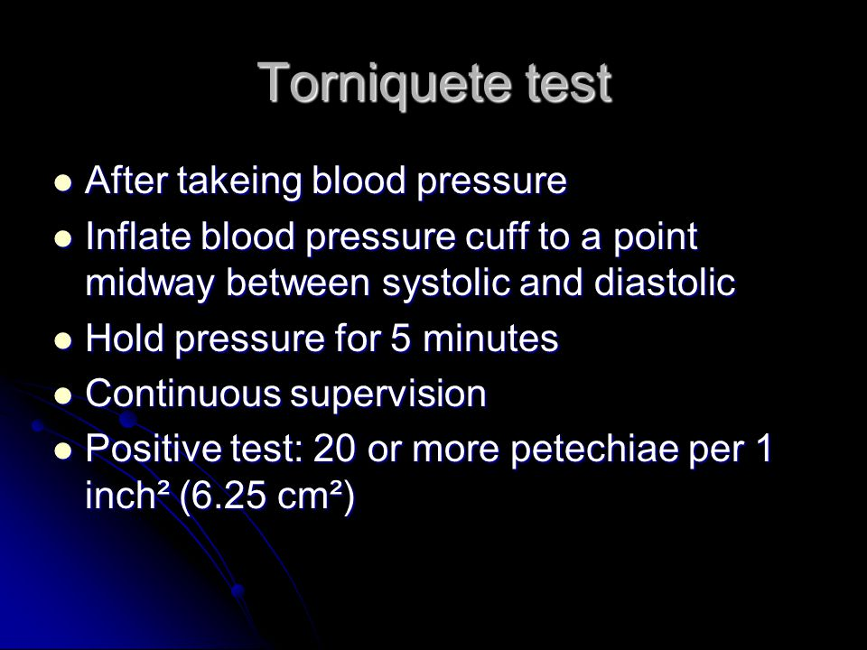 Torniquete test After takeing blood pressure