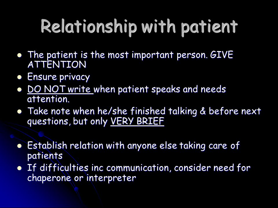 Relationship with patient