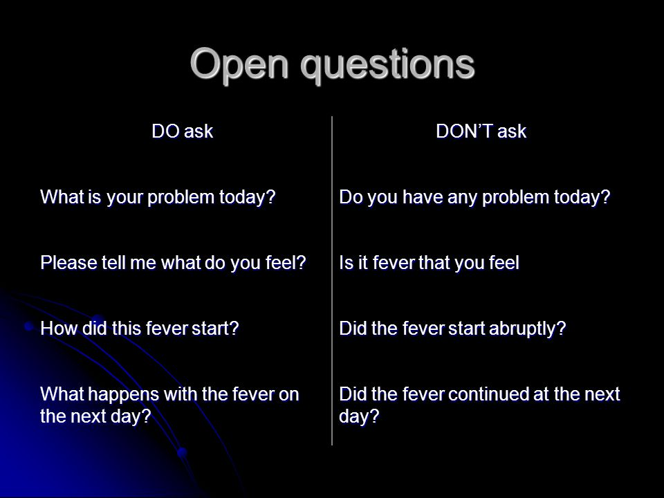 Open questions DO ask DON'T ask What is your problem today