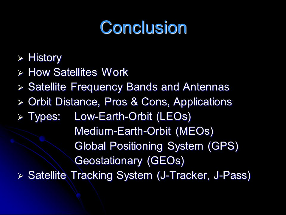 Conclusion History How Satellites Work