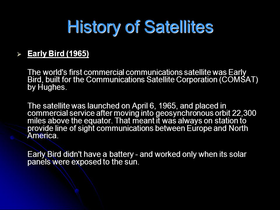 History of Satellites Early Bird (1965)