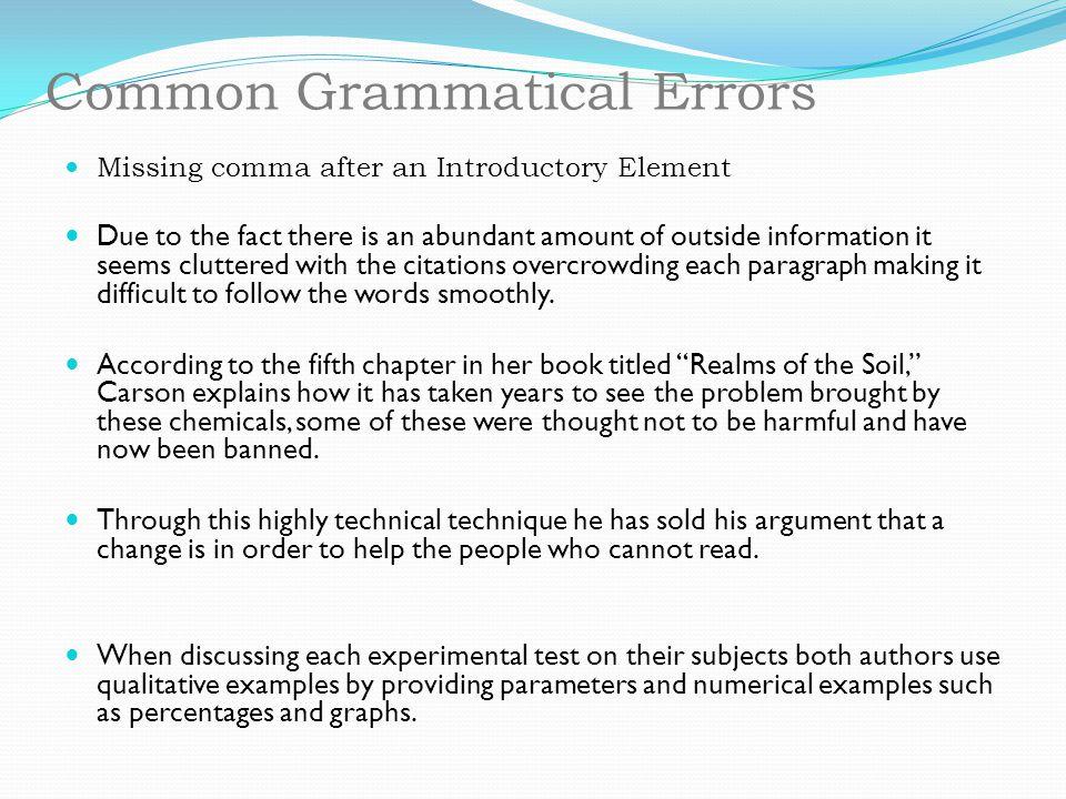 Common Grammatical Errors