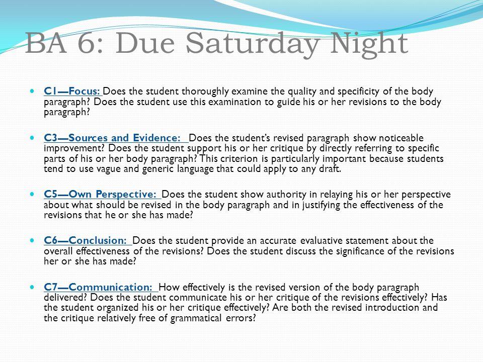 BA 6: Due Saturday Night