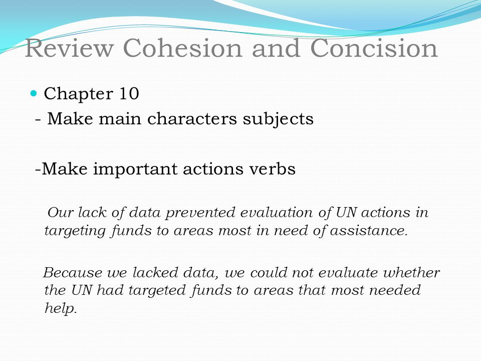 Review Cohesion and Concision