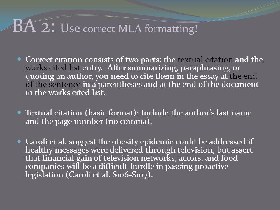 BA 2: Use correct MLA formatting!