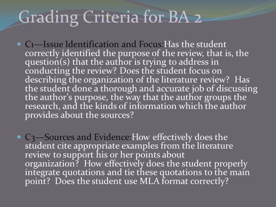 Grading Criteria for BA 2
