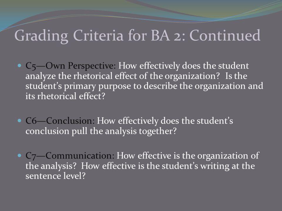 Grading Criteria for BA 2: Continued